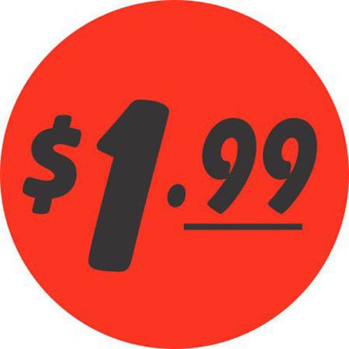 "1.5"" Circle - 1000 per roll. $1.99 - Bullseye on fluorescent red."