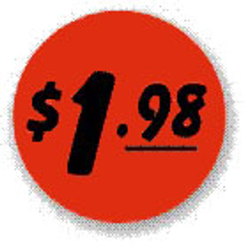 "1.5"" Circle - 1000 per roll. $1.98 - Bullseye on fluorescent red."