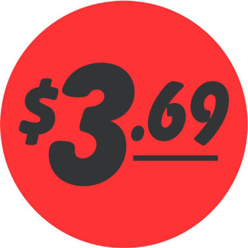 "1.25"" Circle - 1000 per roll. $3.69 Fluorescent Red Bullseye Label"