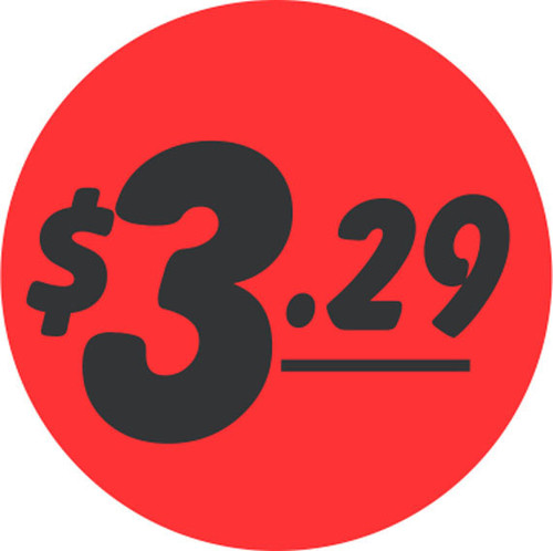 "1.5"" Circle - 1000 per roll. $3.29 - Bullseye on fluorescent red."