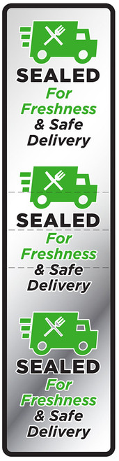 "New! Sealed For Freshness & Safe Delivery Label. 1.5"" x 6"" - 500 per roll on clear material. Tamper evident perforations to help keep foods safe."