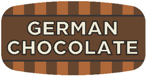 ".625"" x 1.25"" 1000 per roll. German Chocolate Mini Flavor Label"