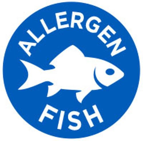 """1"""" Circle - 1000 per roll. Fish Allergen Icon Label"""