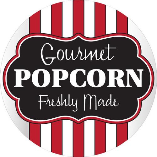 "2.75"" Circle. 500 per roll. Gourmet Popcorn Freshly Made Label"