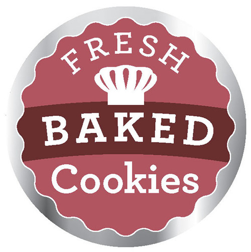 """2"""" Circle / 500 per roll.2""""Fresh Baked Cookies Label. Just in time for the holidays. In stock and ready to ship or check out our otherlabel selection under bakery."""