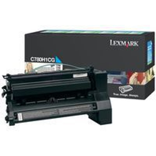 Genuine Lexmark C780H1CG Cyan High Yield Toner Cartridge for C780, C782, X780, X782 [10,000 Pages]