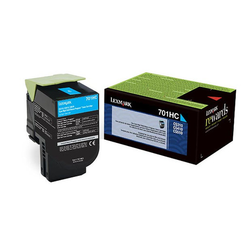 Genuine Lexmark 701HC Cyan High Yield Toner Cartridge for CS310, CS410, CS510 [3,000 Pages]