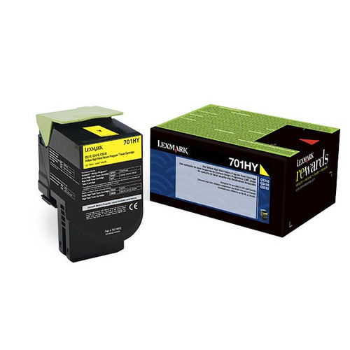 Genuine Lexmark 701HY Yellow High Yield Toner Cartridge for CS310, CS410, CS510 [3,000 Pages]