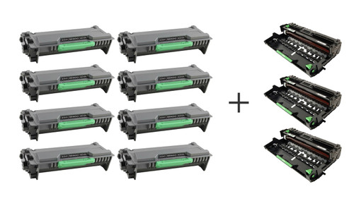 Brother TN850 and DR820 Compatible Combo Pack, 8 Cartridges and 3 Drums [64,000 Pages]