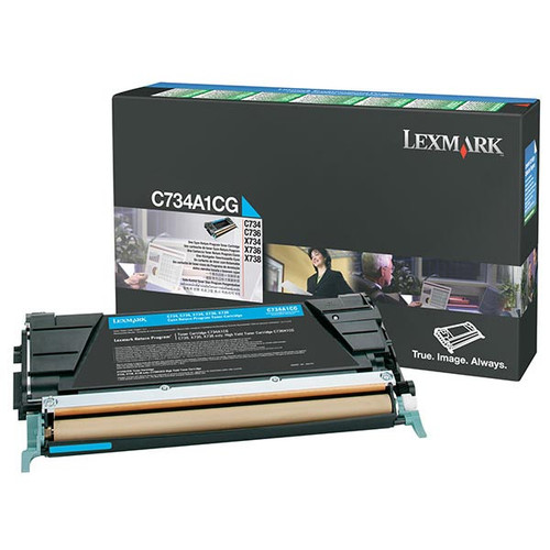 Genuine Lexmark C734A1CG Cyan Toner Cartridge for C734, C736, X734, X736, X738 [6,000 Pages]