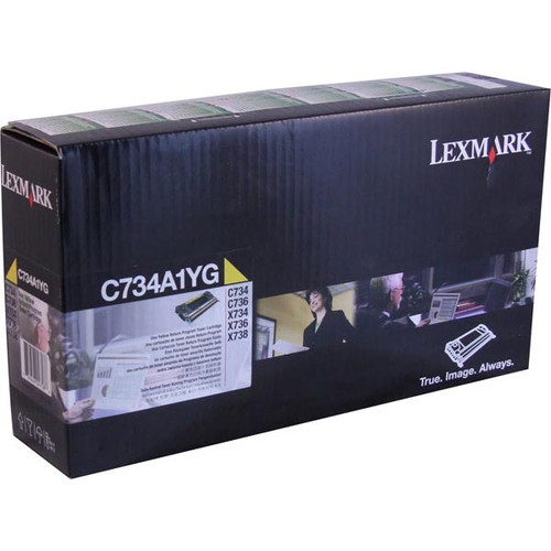 Genuine Lexmark C734A1YG Yellow Toner Cartridge for C734, C736, X734, X736, X738 [6,000 Pages]