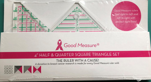 "Good Measure 4"" Half & Quarter Square Triangle 2pc Ruler"