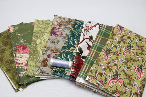 Shades of Green (8) Fat Quarter pack w/BONUS thread