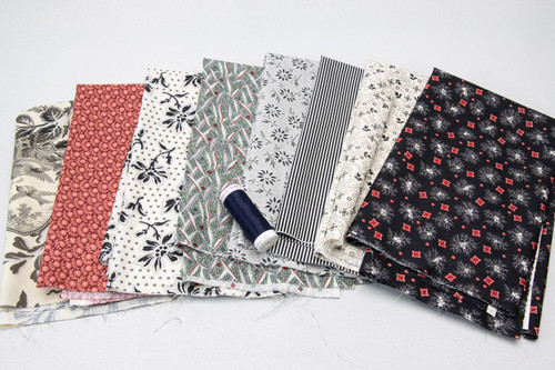 Black/Wht/Red (8) Fat Quarter pack w/BONUS thread