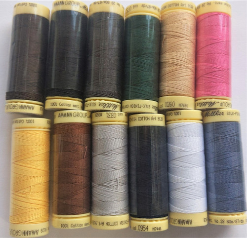 12 spools of METTLER 28wt cotton thread (#90)
