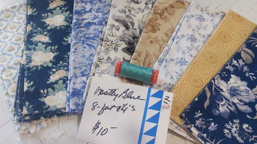 Mostly Blue (8) Fat Quarter pack w/BONUS thread