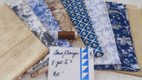 Blue/Beige (8) Fat Quarter pack w/BONUS thread