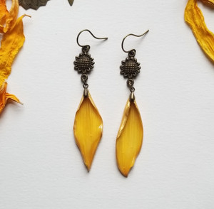 Sunflower Petal Earrings- Yellow with Sunflower and Brass
