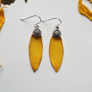 Sunflower Petal Earrings- Small Yellow with Sunflower Charm and Sterling Silver