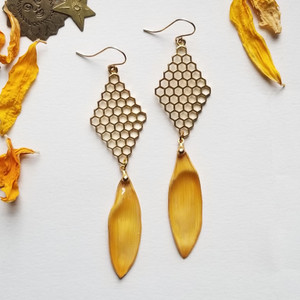Sunflower Petal Earrings- Honeycombs with 14K GF