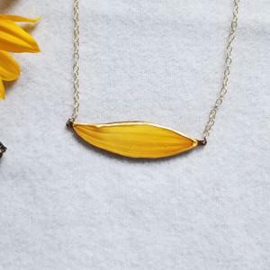 Sunflower Petal SunBar Necklace- 14K GF Chain