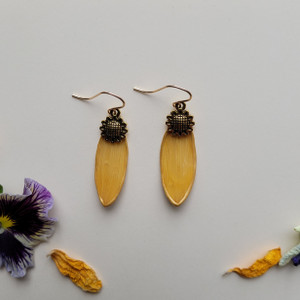 Sunflower Petal Earrings-  Yellow with Sunflower Charm and 14K GF