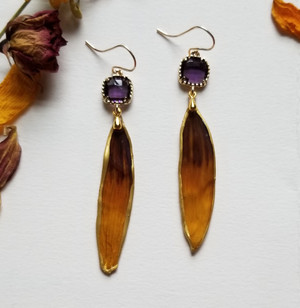 Black-Eyed Susan Earrings- Tricolor Gradient with Purple Rhinestones and14K GF