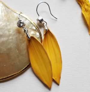Sunflower Petal Earrings- Sterling Silver with Cubic Zirconia Stones