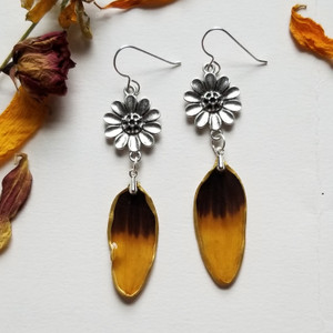 Black-Eyed Susan Earrings- Two-toned Sterling Silver with Flower