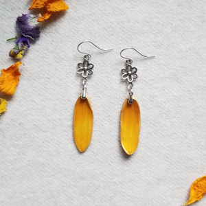 Black-Eyed Susan Earrings- Sterling Silver with Small Flower