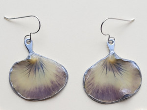 Pansy Petal Earrings- White and Purple with Sterling Silver