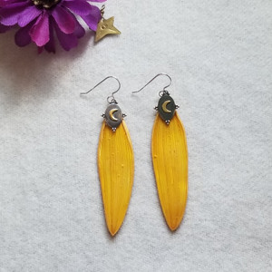 Sunflower Petal Earrings- Sterling Silver with Bronze Crescent Moons- Midnight Sunflowers Collection