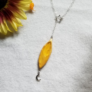 Sunflower Petal Necklace- Adjustable Lariat Moon and Star Sterling Silver- Midnight Sunflowers Collection