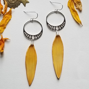 Sunflower Moonphase Earrings- Sterling Silver