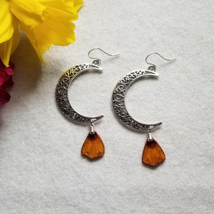 Coreopsis Flower Petal Earrings- Crescent Moons with Sterling Silver