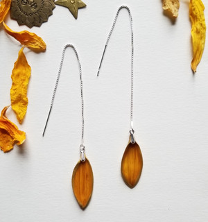 Sunflower Petal Ear Threads- Sterling Silver