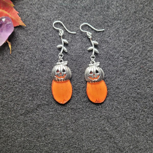 Orange Cosmos Pumpkin Earrings- Sterling Silver with Branches
