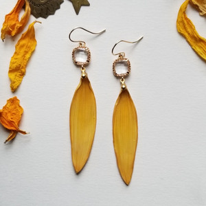 Sunflower Petal Earrings- 14k GF with Clear Rhinestones