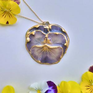 Pansy Pendant- Purple Full Flower with 14K GF