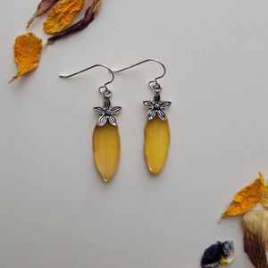Sunflower Petal Earrings- Very Small Yellow with Flower Charm and Sterling Silver