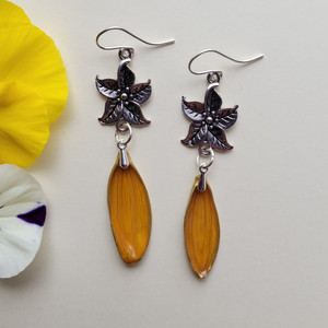 Sunflower Petal Earrings- Small Orange with Sterling Silver and 5-Point Flower