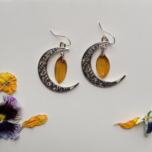 Sunflower Petal Earrings- Small Orange with Sterling Silver and Crescent Moons (petal on top)