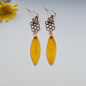 Sunflower Petal Earrings- Honeycomb and Bee 14k GF- Bee-Loved Collection