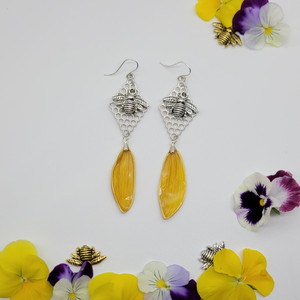 Sunflower Petal Earrings- Yellow with Honeycomb and Large Bee Sterling Silver- Bee-Loved Collection