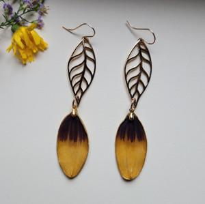 Black-Eyed Susan Long Leaf Earrings- 14K GF