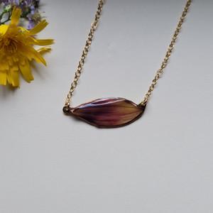 Sunflower Petal Choker Necklace- Purple/Yellow with 14k GF