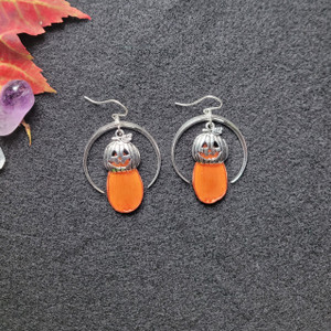 Orange Cosmos Pumpkin Earrings- Sterling Silver with Crescent Moons