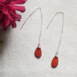 Orange Cosmos Ear Threads- Sterling Silver
