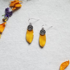 Black-Eyed Susan Earrings- Moon and Star Charm with Sterling Silver