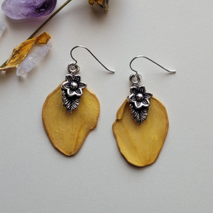 Daffodil Petal Earrings- Sterling Silver with Flower/leaf Charm